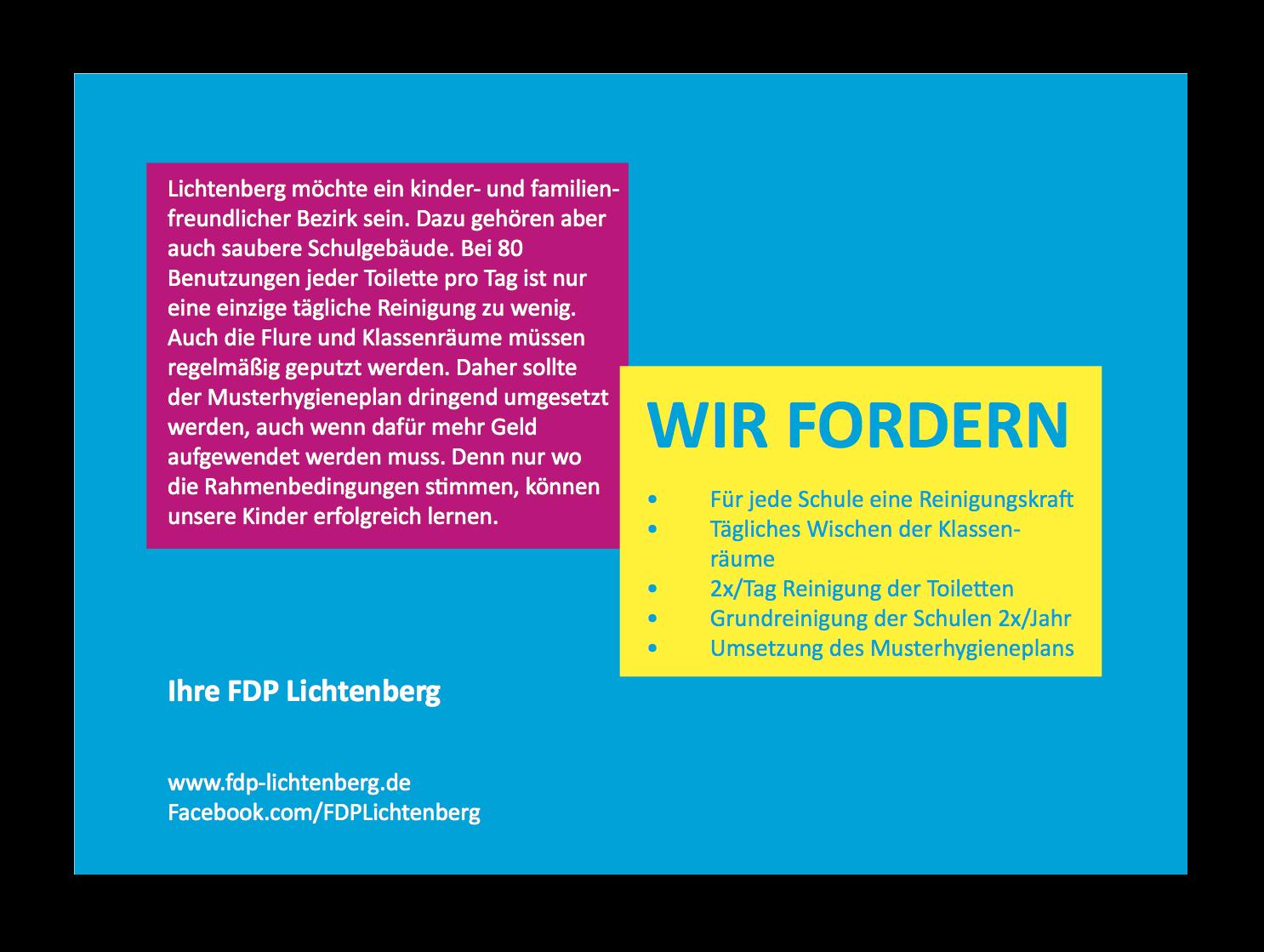 FDP Postkarte Schulreinigung hinten