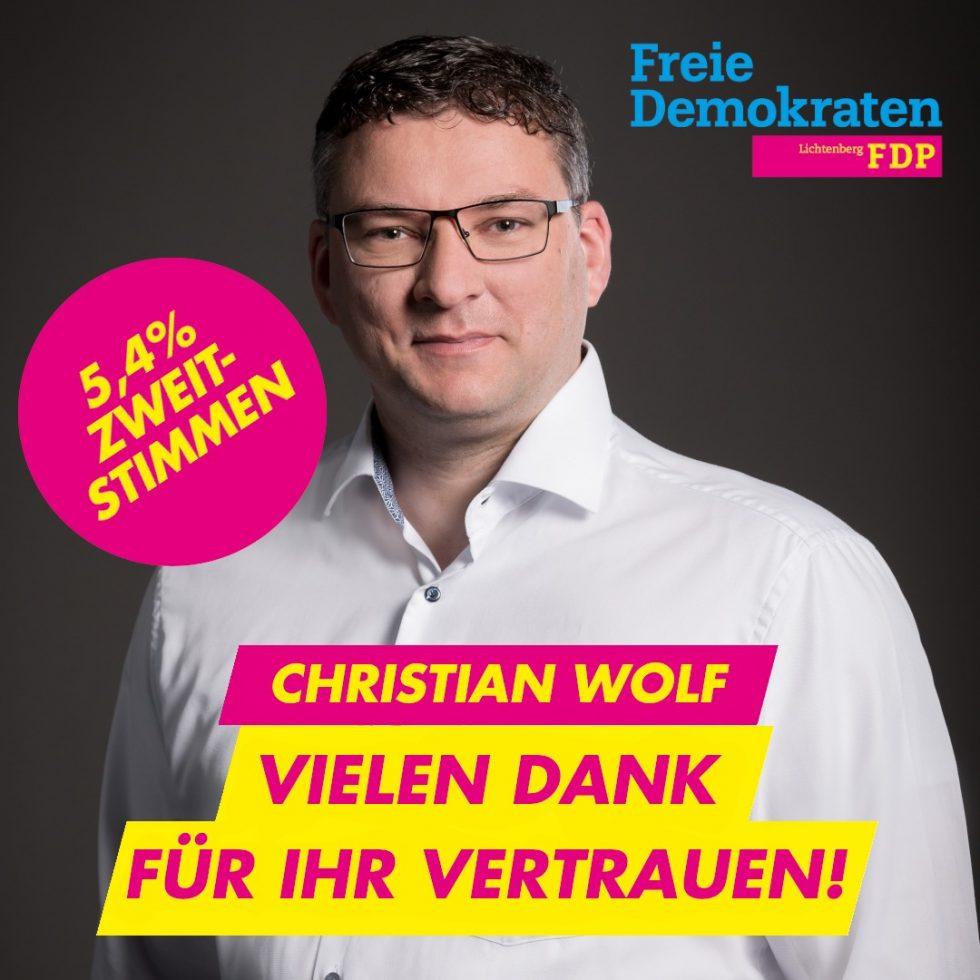 Christian Wolf zieht ins Abgeordnetenhaus ein