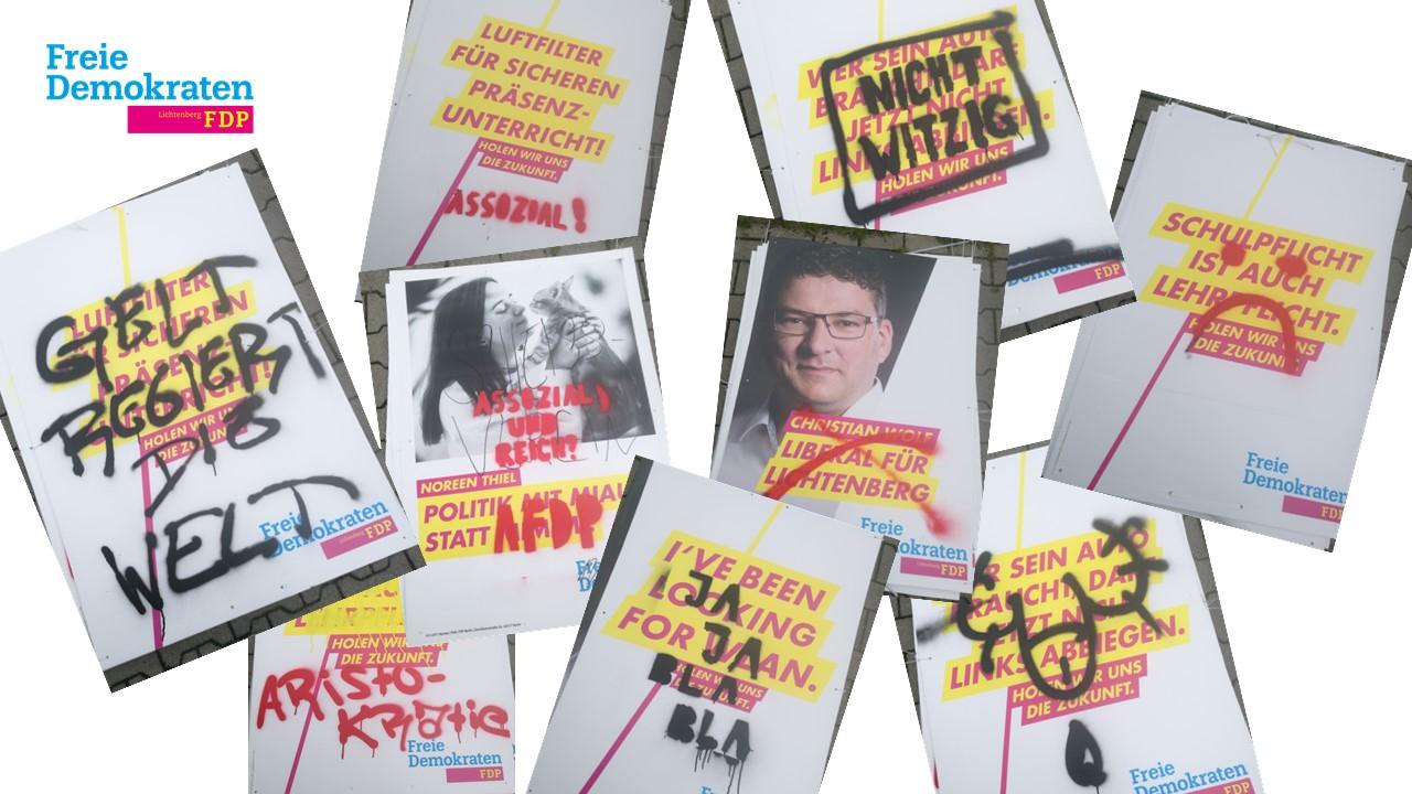 Text- und Psychoanalyse beschädigter Wahlplakate